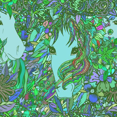Naadloze vector patroon met paard en bloemen. Textuur, achtergrond voor textiel, stof. Stock Illustratie