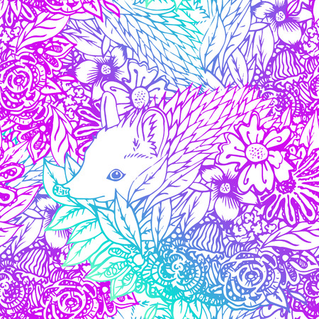 brown hare: Cute little hedgehog seamless pattern. Texture, background for fabric.