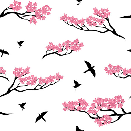 tree texture: Seamless vector pattern of sakura tree. Texture with twigs of a tree and birds.