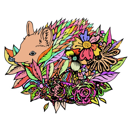 hedgehog: Colored hedgehog isolated, colored sketch. Abstract vector hedgehog in the flowers. Print for t-shirt. Wild things. Illustration