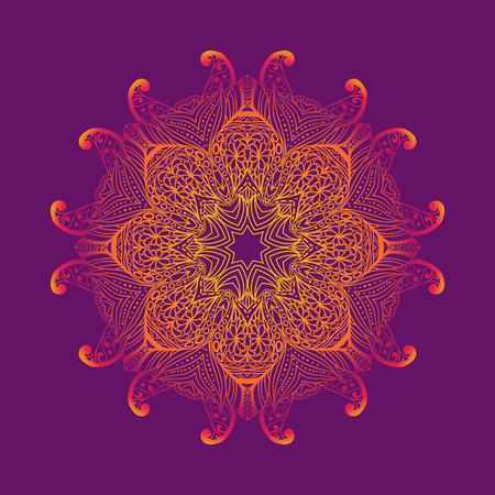 pink flower: Kaleidoscopic floral pattern, mandala design in pink and purple colors. Vector round floral pattern.