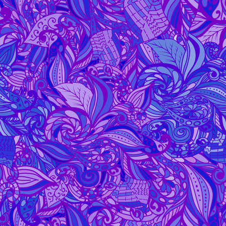 repeat texture: Hand drawn blue and purple seamless pattern. Repeat texture for textile. Doodle backdrop decoration.