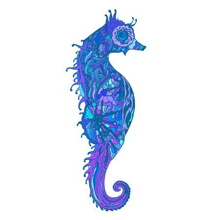 caballo de mar: Azul y caballito de mar púrpura aislados. Abstract Sea Horse vector, modelo gráfico. Imprimir para la camiseta, taza y así sucesivamente. Cosas salvajes.