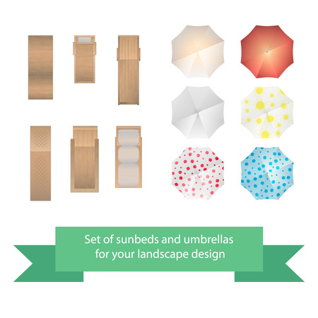 wood furniture: Set of vector sunbeds and umbrellas. Collection for landscaping, top view, plan.