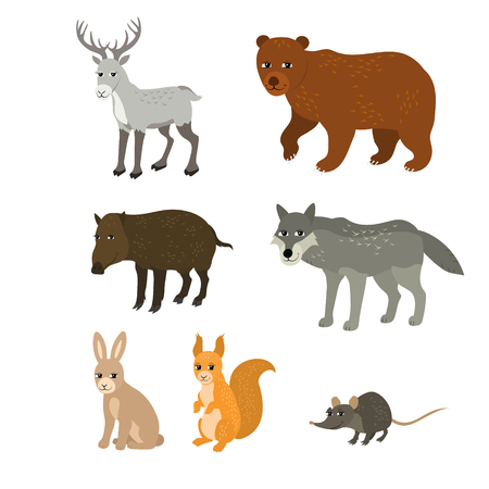 mammals: Vector cartoon animals: northern deer bear boar wolf rabbit squirrel mouse. The drawn set of wild mammals. Collection of stylized forest animals in a flat style.
