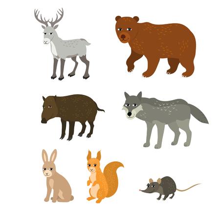 myszy: Wektor cartoon zwierzęta: jelenie północne wiewiórka wilk niedźwiedź królik dzika mysz. Wylosowane zestaw dzikich ssaków. Kolekcja stylizowanych zwierząt leśnych w płaskim stylu.