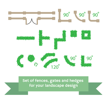 hedges: Set of vector fences and hedges. Collection for landscaping, top view, plan.