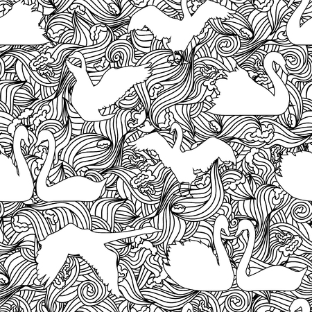 swan: Swan vector silhouette seamless pattern. Graphic birds for textile and cloth.