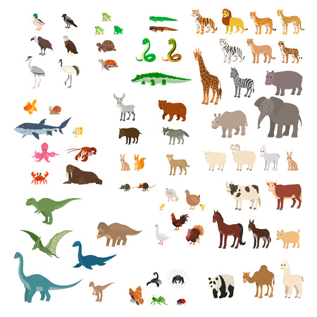 Big set of cartoon animals, vector illustrations.