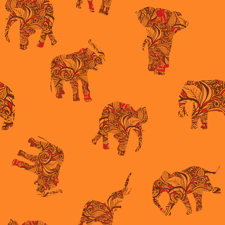 festal: Orange seamless texture with stylized patterned elephants in Indian style Vector floral endless background