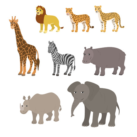 Vector cartoon animals: lion leopard cheetah giraffe zebra hippo rhino elephant. The drawn set wild animals of africa. Collection of stylized animals in a flat style.