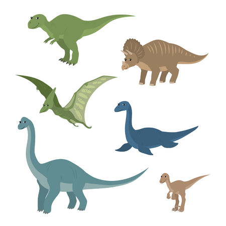 prehistoric animals: Vector cartoon animals: diplodocus plesiosaur pterosaur triceratops tyrannosaurus velociraptor. The drawn set of   dinosaurs. Collection of prehistoric animals in a flat style.