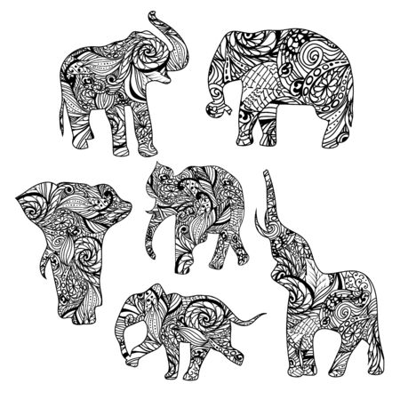 festal: Set of black and white hand drawn isolated ethnic elephants. Collection of vector patterns floral animals.