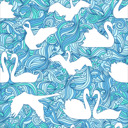 nature pattern: Swan blue vector silhouette seamless pattern. Graphic birds for textile and cloth. Illustration