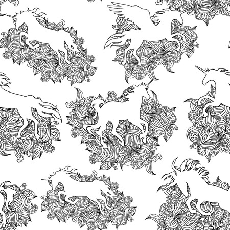 Unicorn naadloze grafisch zwart vector patroon. Ontwerp voor achtergronden en kind stof.