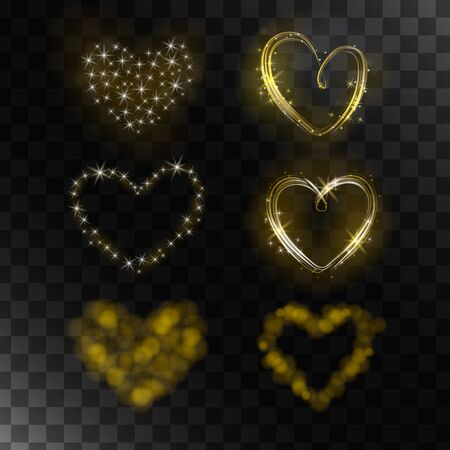 pearly: Set of vector isolated magic hearts. The collection of 6 shiny hearts. It can be used to make gifts, cards and advertising.
