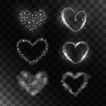shiny hearts: Set of vector isolated magic hearts. The collection of 6 shiny hearts. It can be used to make gifts, cards and advertising.