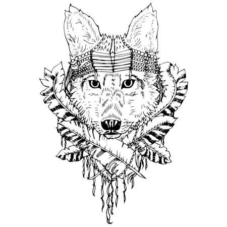 grey wolf: Black and white wolf isolated. Engraving sketch. Abstract vector animal with leaves. Print for t-shirt. Wild things.