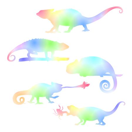 chameleons: Watecolor set of chameleons, vector colored lyzard pattern.