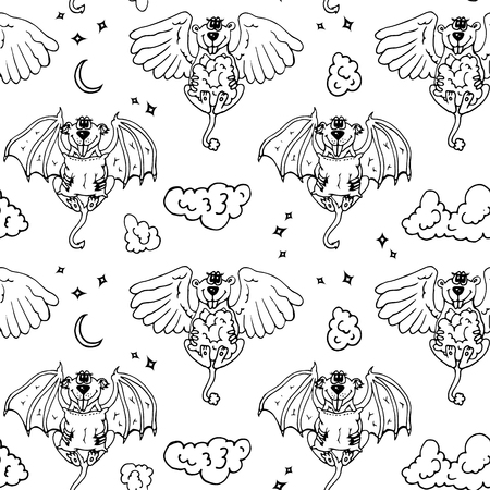 angel white: Cartoon pattern with monsters angel and yo. Black and white seamless background with funny animals.