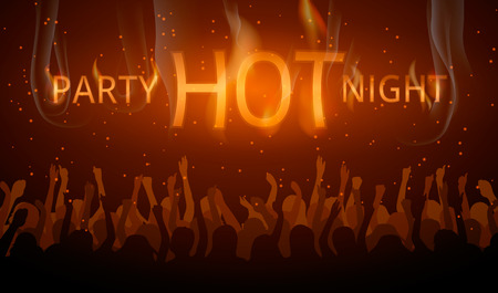 hot summer: Disco flyer Hot night party. Red poster with crowd and fire text. Illustration