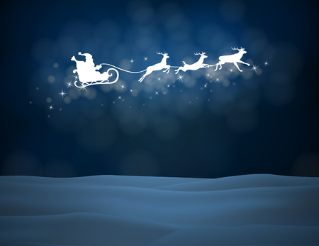 Reindeer and Santa Claus in the sky. Christmas background with snow. Vector silhouettes for cards, advertising banners, illustrations. The image of the new year holiday.