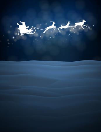 Rendier en Santa Claus in de lucht. Kerst achtergrond met sneeuw. Vector silhouetten voor kaarten, reclame banners, illustraties. Het beeld van het nieuwe jaar vakantie.