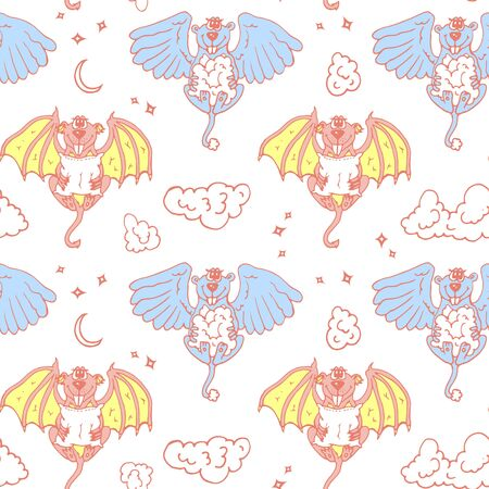 devil and angel: Cartoon pattern with monsters angel and yo. Colored children seamless background with funny animals.