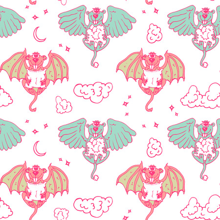 cute angel: Cartoon pattern with monsters angel and yo. Colored children seamless background with funny animals.