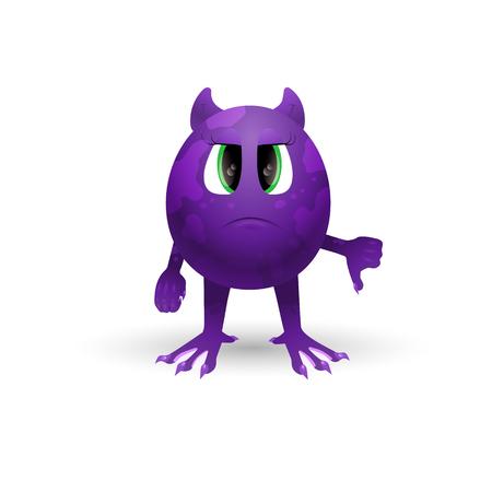 Vector cartoon monster. Not happy alien shows the symbol finger down, not good.