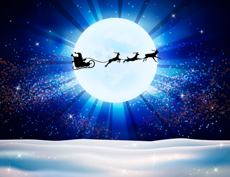 christmas star background: Reindeer and Santa Claus on moon background. Christmas background with snow. Vector silhouettes for cards, advertising banners, illustrations. The image of the new year holiday.