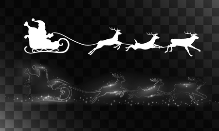 claus: Reindeer and Santa Claus. Vector silhouettes for cards, advertising banners, illustrations. The image of the new year holiday. Illustration