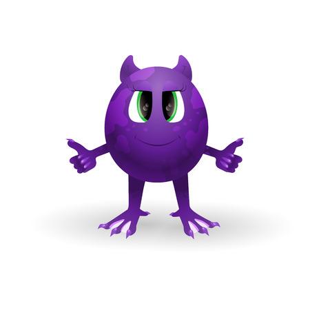 Vector cartoon monster. Funny alien shows the symbol OK.