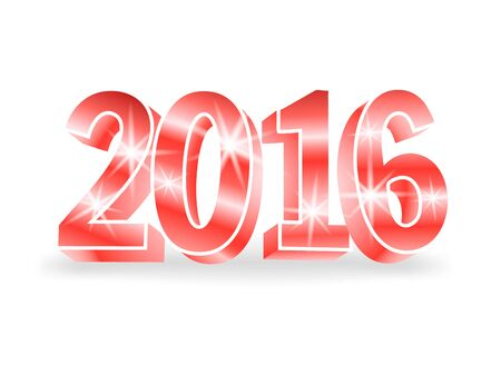 colored backgound: Vector red 2016 numbers on white background. 3d vector illustration for cards, advertising banners. The image of the new year holiday.