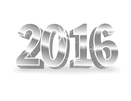 colored backgound: Vector silver 2016 numbers on white background. 3d vector illustration for cards, advertising banners. The image of the new year holiday.