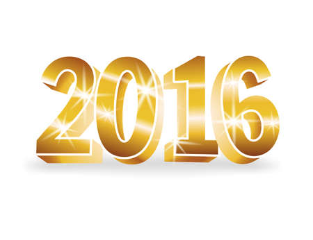 colored backgound: Vector gold 2016 numbers on white background. 3d vector illustration for cards, advertising banners. The image of the new year holiday. Illustration