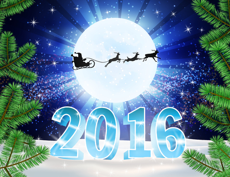 northern light: 3d numbers 2016 christmas background. Reindeer and Santa Claus on moon background. Vector silhouettes for cards, advertising banners, illustrations. The image of the new year holiday.