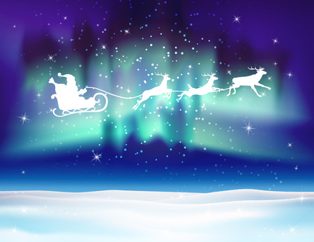 Reindeer and Santa Claus on northern lights background. Christmas background with snow. Vector silhouettes for cards, advertising banners, illustrations. The image of the new year holiday.