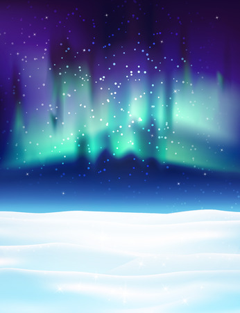 northern: Northern lights background vector illustration. Winter backdrop with snow.