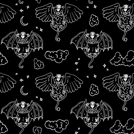black wings: Black white cartoon pattern with monsters angel and yo. Colored children seamless background with funny animals. Illustration
