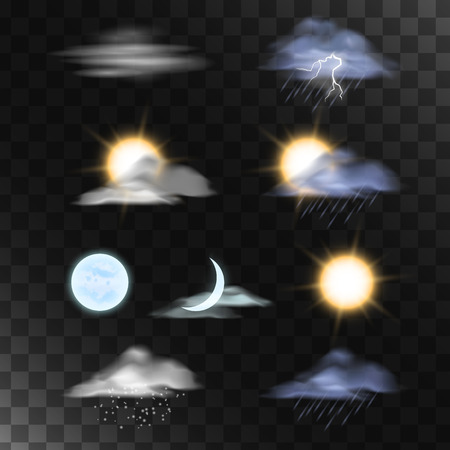 weather forecast: Sun moon clouds isolated. Realistic weather icons.