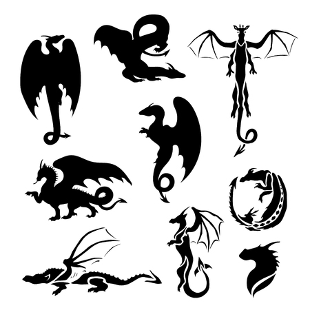 Big vector set of dragons. Silhouettes for tattoo and illustrations.