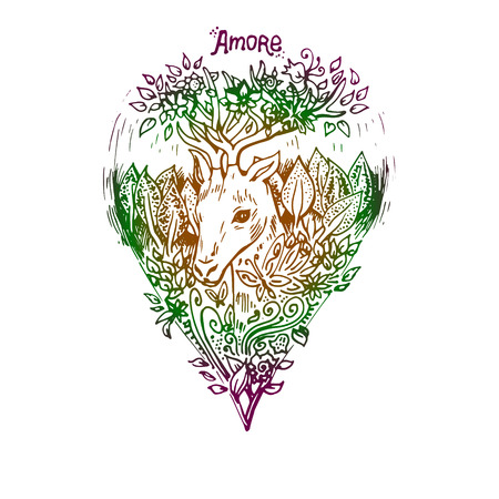 engraving print: Colored deer isolated. Engraving sketch. Abstract vector animal with leaves. Print for t-shirt. Wild things. Illustration
