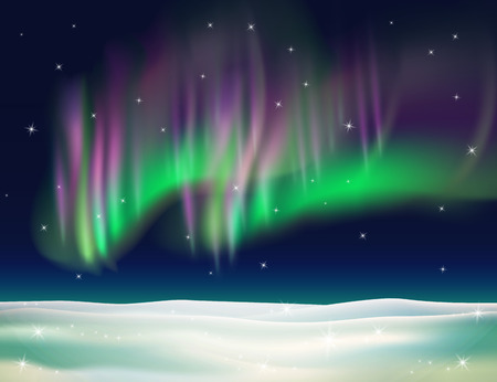 borealis: Northern lights background vector illustration. Winter backdrop with snow.