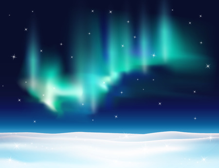 northern light: Northern lights background vector illustration. Winter backdrop with snow.