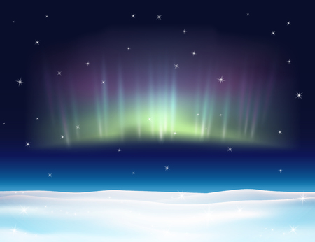 polar lights: Northern lights background vector illustration. Winter backdrop with snow.