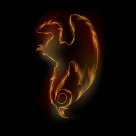 winged dragon: Vector fire dragon. Logo design. Illustration for t-shirt. Illustration