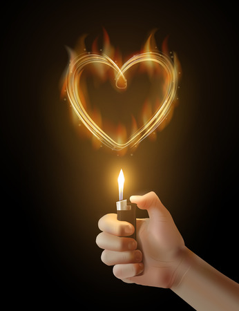 love image: Vector burning heart and the hand holding the lighter. Illustration of passion, love, ignition, feelings. Image on t-shirt, mug and so on.
