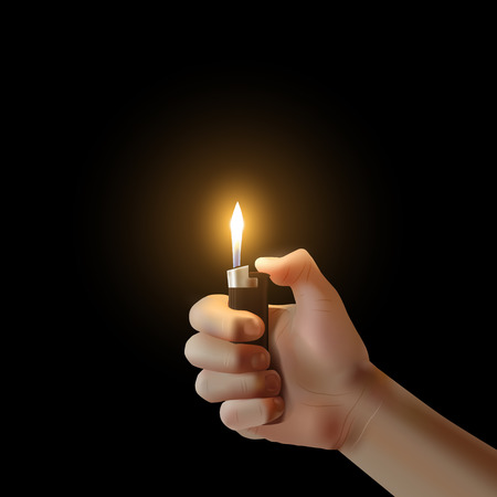 lit: Vector hand with the lighter isolated. Lit up idea illustration.