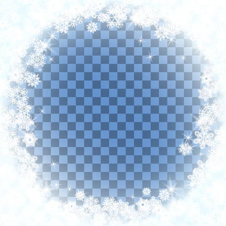 Snow frame blue background. Transparent background with snowflakes.